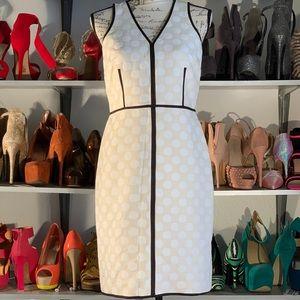 ANN Taylor Cream white polka dot Dress